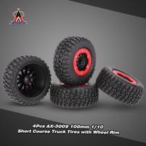 AUSTAR AX-3009 High Performance 108mm 1/10 Short Course Truck Tires with Wheel Rim for All Terrain