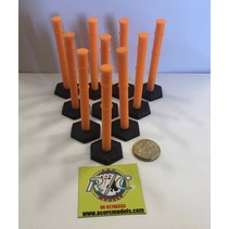 ACE 3D PRINT 1:14  SAFETY BOLLARD ( 10 PACK )  ORANGE WITH BLACK BASE ( OTHER COLOURS AVAILABLE ON REQUEST )
