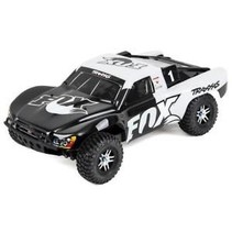 TRAXXAS 1/10 SLASH 4WD BRUSHLESS VXL SHORT COURSE TRUCK BLACK & WHITE FOX RACING REQUIRES BATTERY & CHARGER