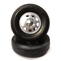 INTEGY BILLET MACHINED ALLOY FRONT WHEEL TYPE II AND TIRE SET TAMIYA 1/14 SCALE TRACTOR TRUCK