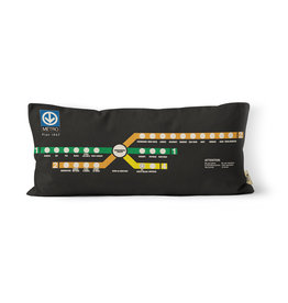 "PILLOW - BERRI-de MONTIGNY -  1967 Metro map   10"" x 20"""