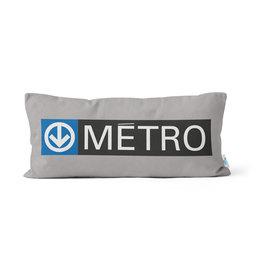 "PILLOW - Métro logo + sortie sign   10"" x 20"""