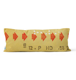 "PILLOW - Yellow transfer ticket 10"" x 24"""