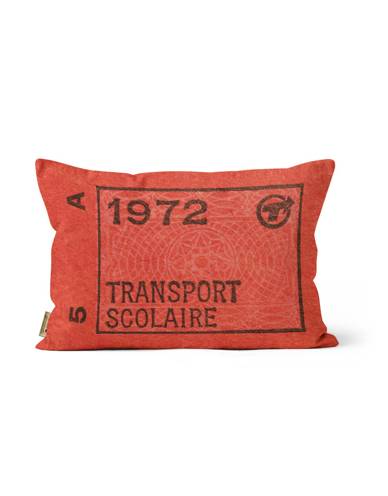 "PILLOW - Transport scolaire 1972 ticket    12"" x 18"""