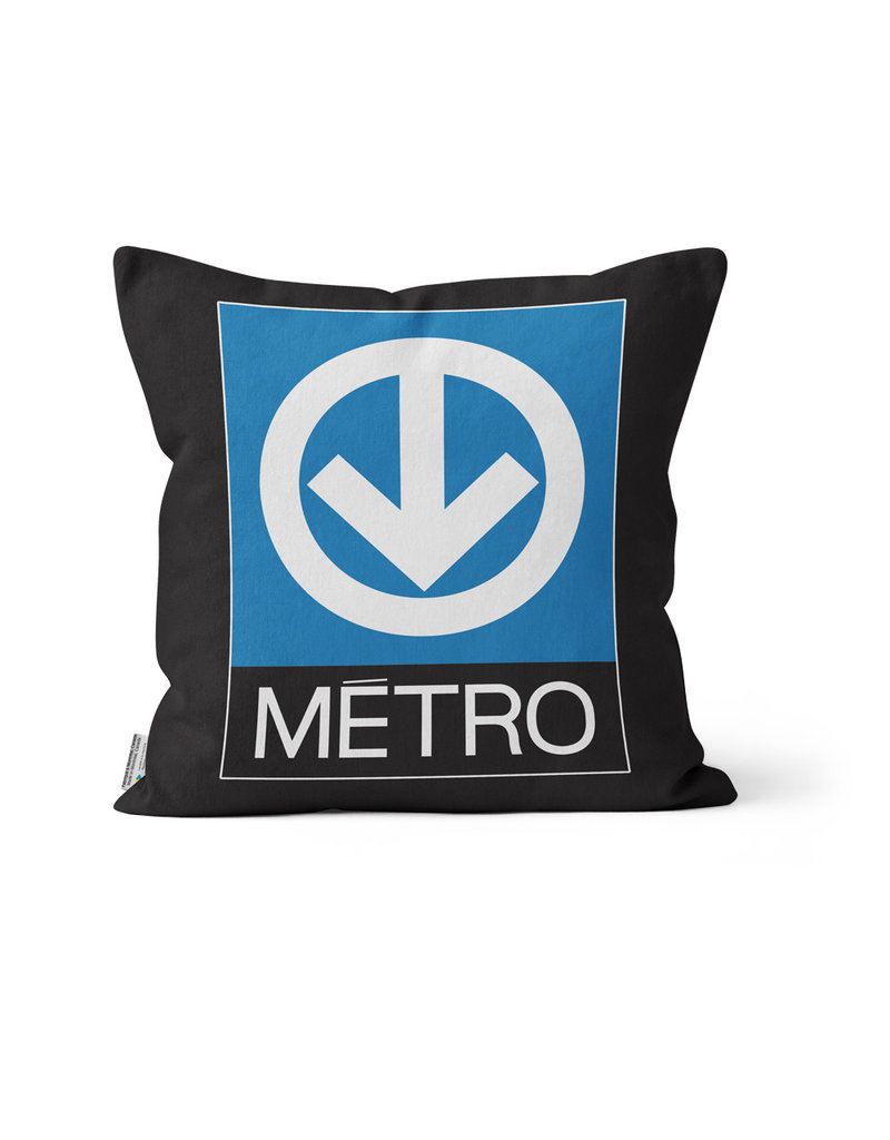 "PILLOW - MR-63 & Métro logo 14"" x 14"""