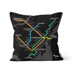 PILLOW - Montreal black Métro map    2016/2013