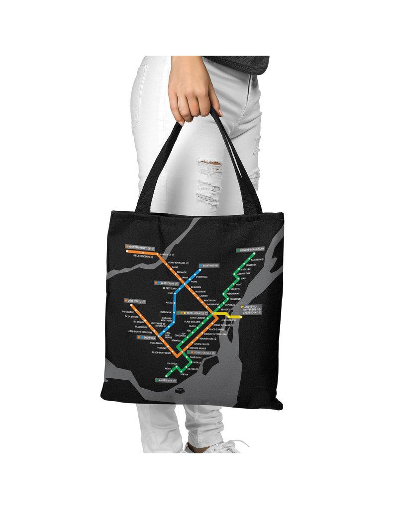 Sac en toile - Plan du métro noir
