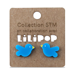 Earrings -  Blue STM birds