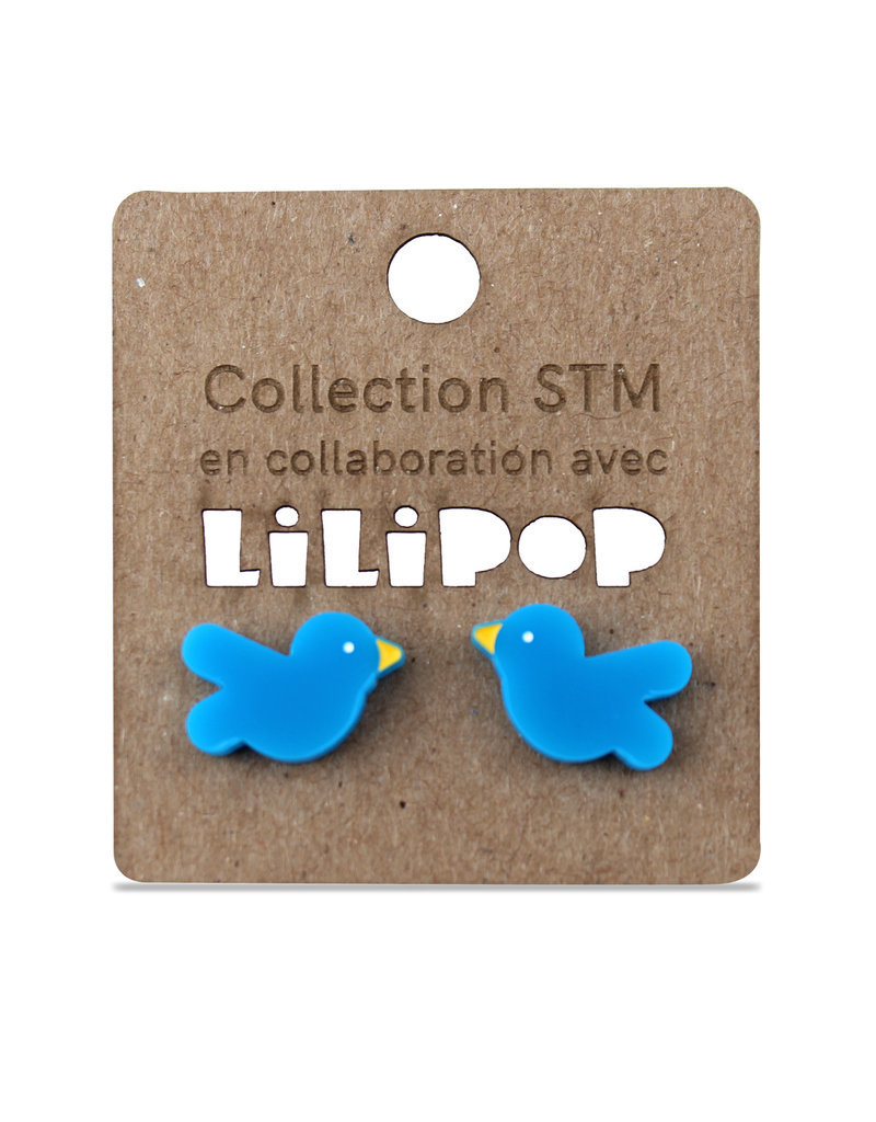 Earrings -  Blue STM birds