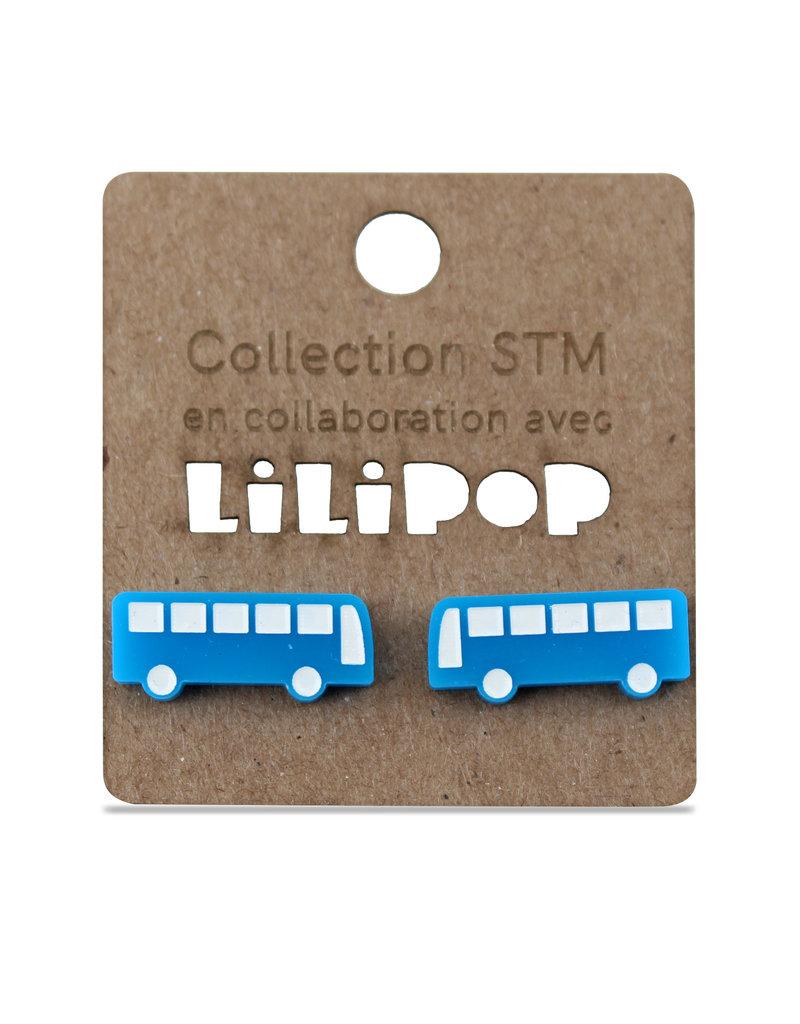 Boucles d'oreilles - Autobus bleu
