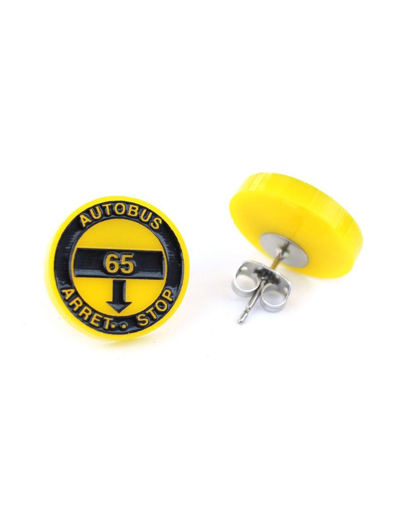 Boucles d'oreilles - Arrêt d'autobus jaune (65)