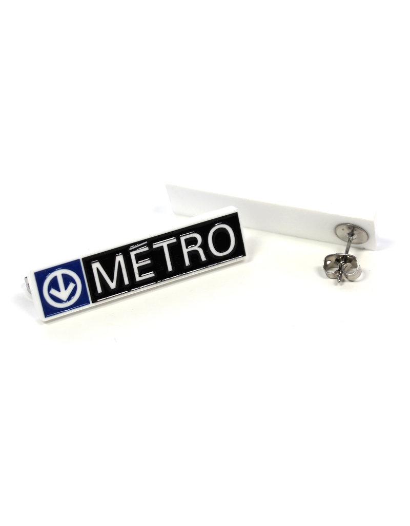 Earrings - Rectangular Metro logo
