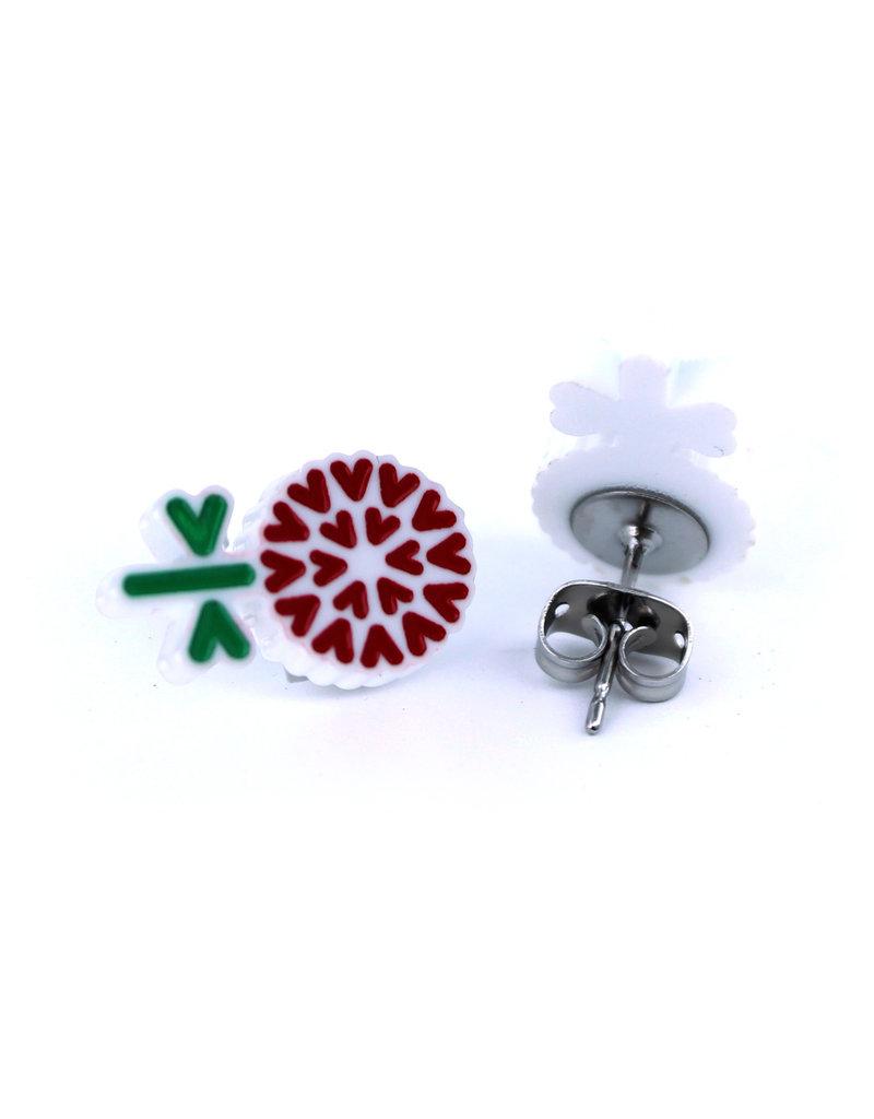 Boucles d'oreilles - Fleurs rouge