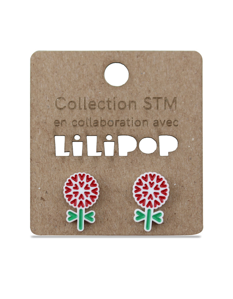 Earrings -  Red flowers