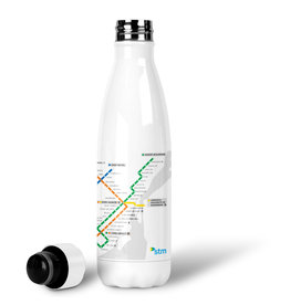 BOUTEILLE D'EAU EN ACIER INOXYDABLE 500ml - Plan du métro blanc