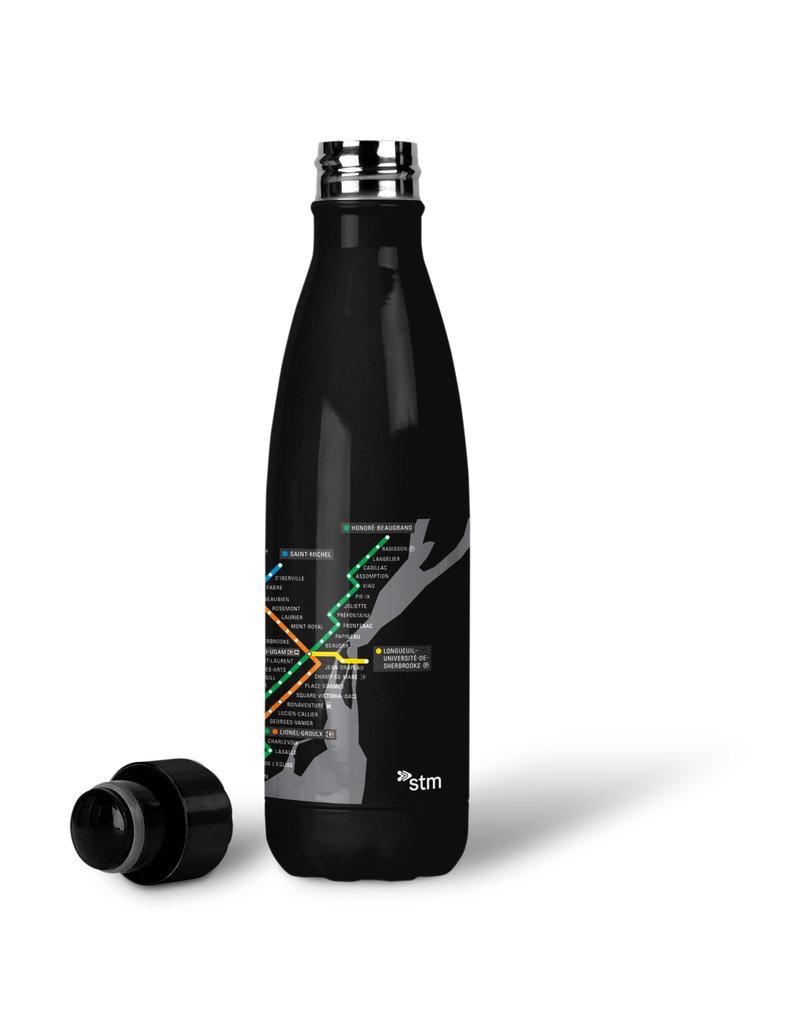 BOUTEILLE D'EAU EN ACIER INOXYDABLE 500ml - Plan du métro noir