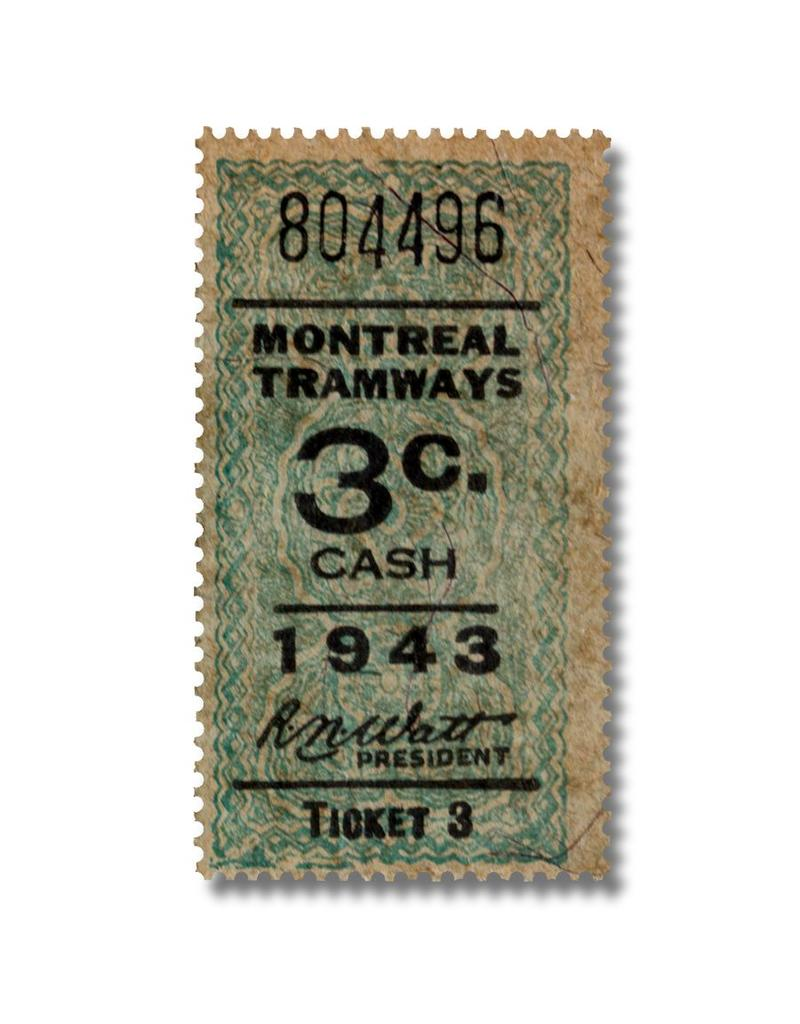 CADRE EN ACRYLIQUE - Montreal Tramways 3c  Anée 1943
