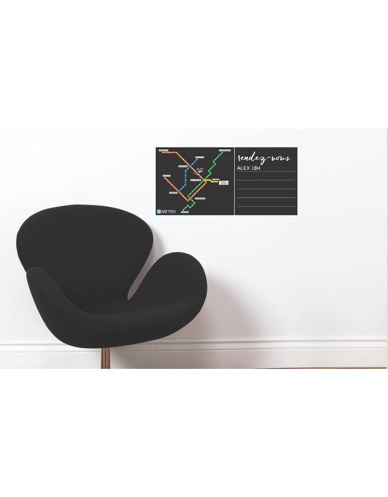 WALL DECALS - Black board Métro map