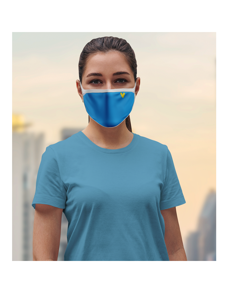 Reusable face mask - Blue chevron