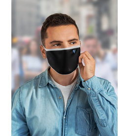 Reusable face mask - Black mask with blue chevron