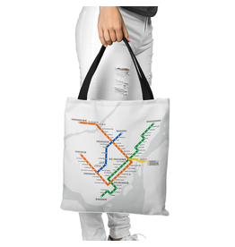 Canvas bag - White metro map / Metro logo
