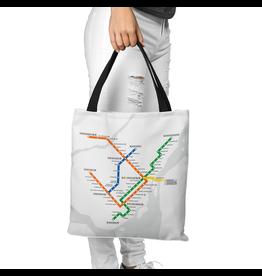 Sac en toile - Plan du métro blanc