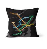 Pillow - Black Metro Map  2016 / 2013