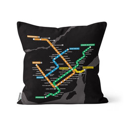 Pillow - Black Metro Map  2016 / 2013