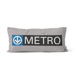 "PILLOW - Métro logo + sortie sign   10"" x 20"""