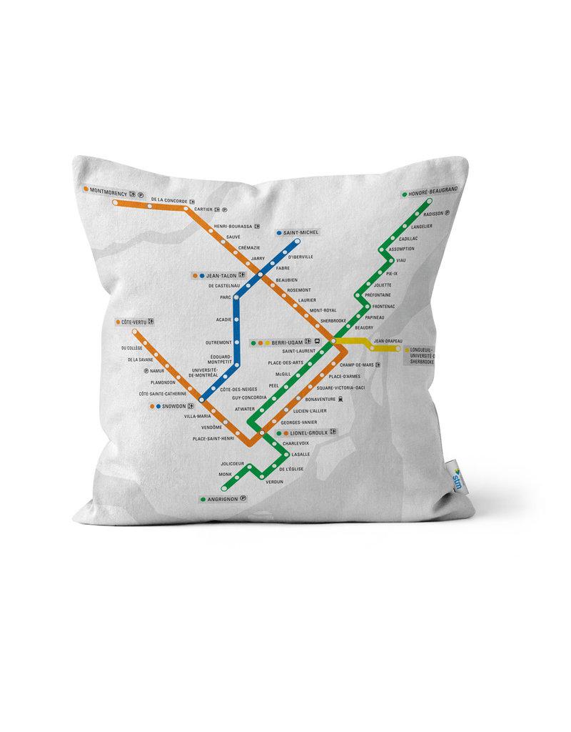PILLOW - White metro map + metro logo