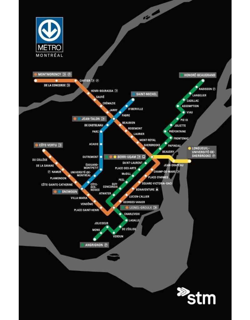Stcum Metro Map.Carte Postale Plan Du Metro Boutique Stm