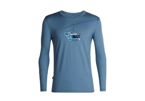 ICEBREAKER ICEBREAKER MENS TECH LITE LONG SLEEVE CREWE CAMPER LIFT GRANITE BLUE-401