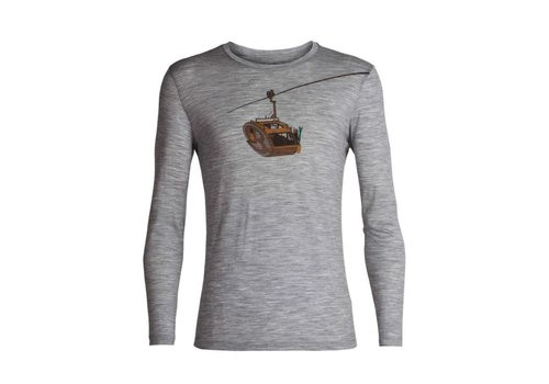 ICEBREAKER ICEBREAKER MENS TECH LITE LONG SLEEVE CREWE CAMPER LIFT METRO HEATHER-004