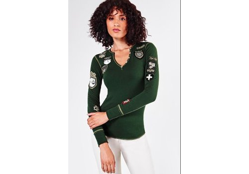 ALP-N-ROCK ALP-N-ROCK SKI THE WORLD HENLEY SHIRT KOMBU GREEN-KGR