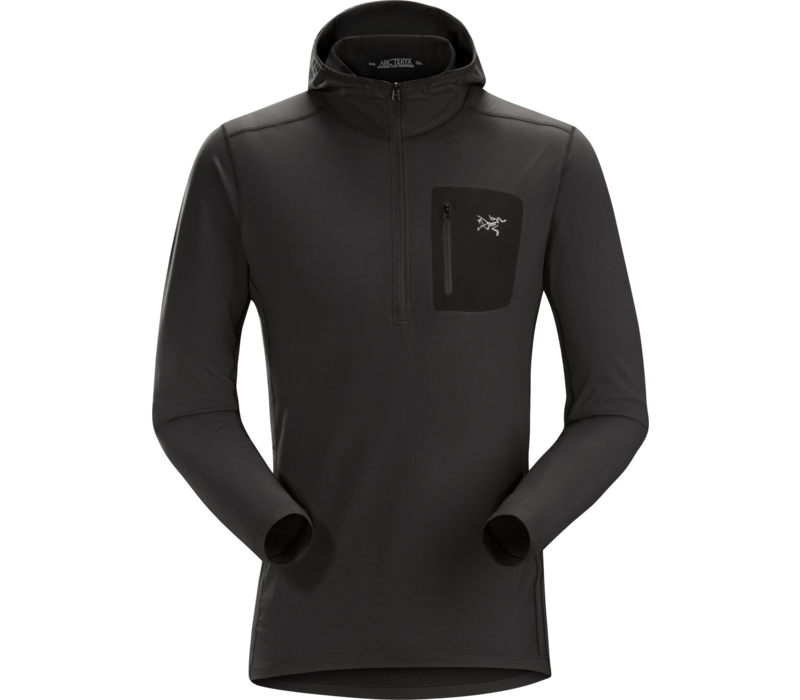 ARCTERYX RHO LT HOODED ZIP NECK MEN'S (19/20) BLACK-BLK