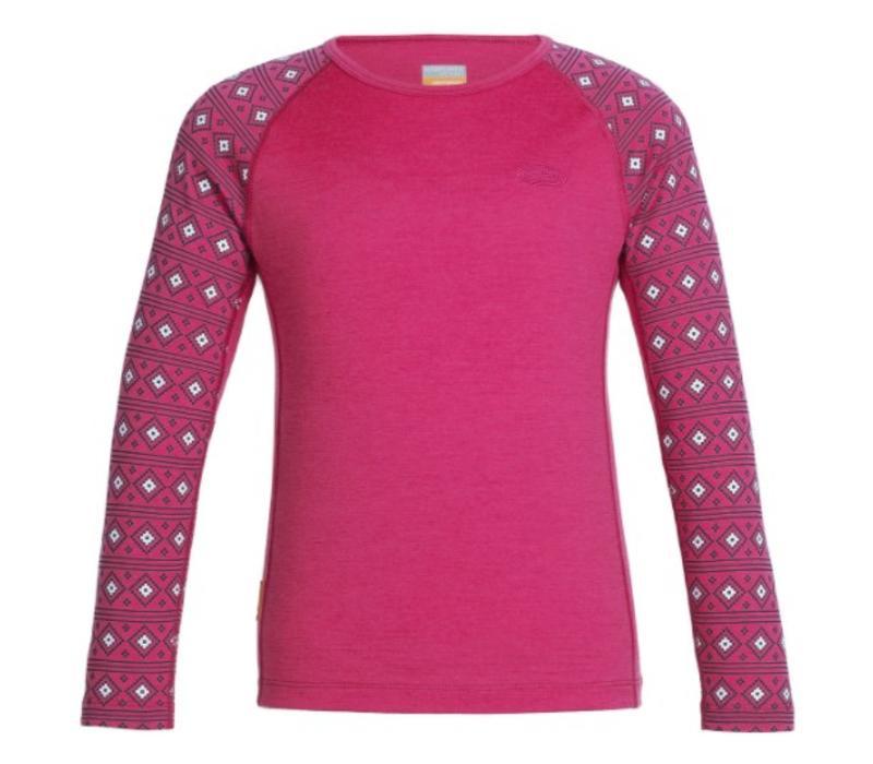 Icebreaker Kids' Oasis Long Sleeve Crewe Align Pop Pink -603 (16/17)