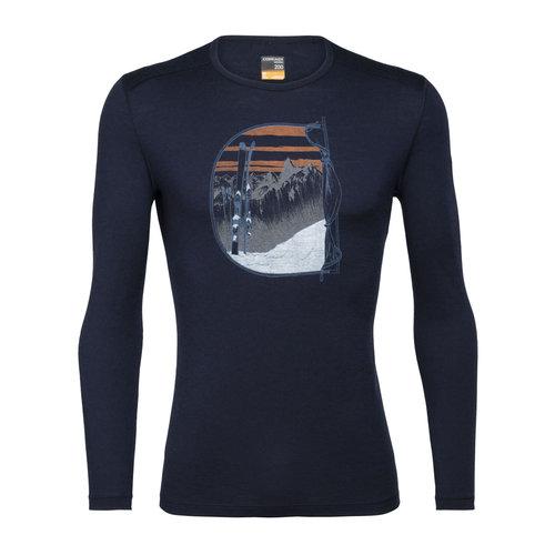 ICEBREAKER Icebreaker Mens 200 Oasis Ls Crewe Mt Blanc Rise (20/21) Midnight Navy-401