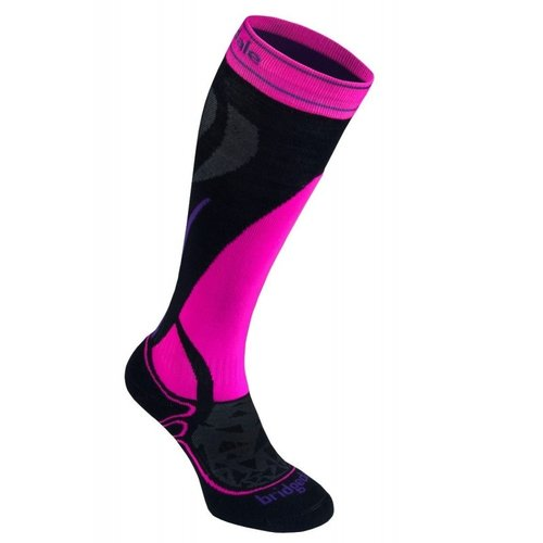 BRIDGEDALE Bridgedale Womens Vertige Mid Sock Black/Fluro Pink -077 (17/18)