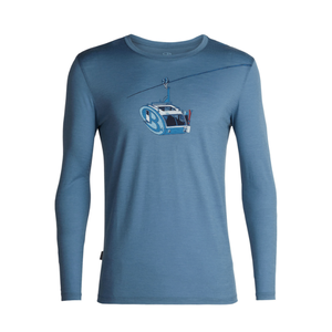 Icebreaker ICEBREAKER MENS TECH LITE LONG SLEEVE CREWE CAMPER LIFT GRANITE BLUE-401 *Final Sale*
