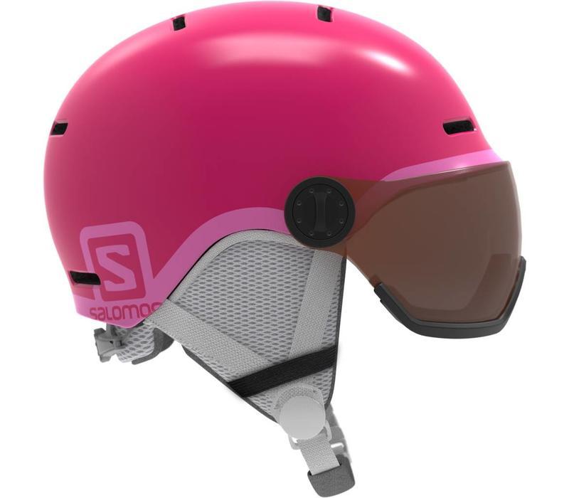 Salomon Jr Grom Visor Glossy Pink Helmet - (17/18)