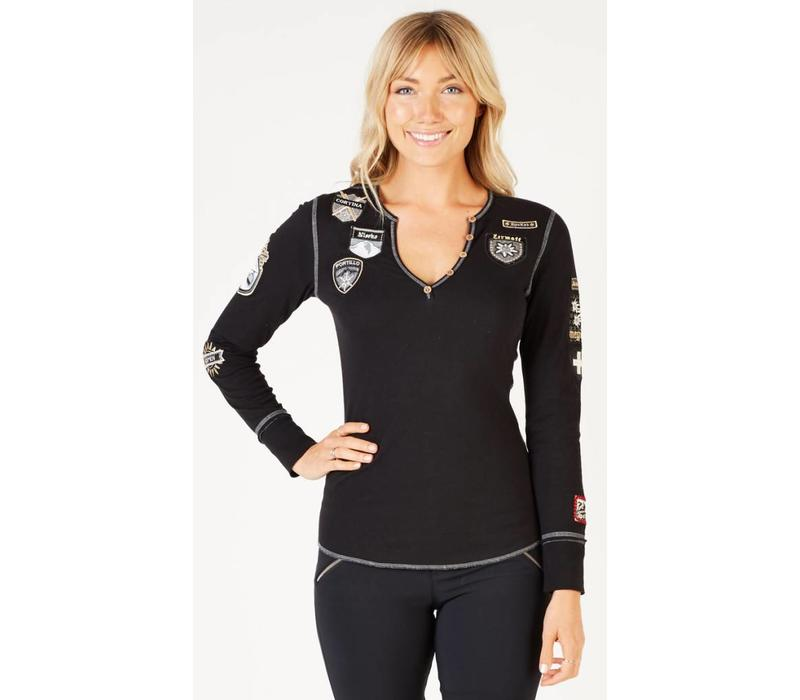 ALP-N-ROCK SKI THE WORLD HENLEY SHIRT BLACK-BLK