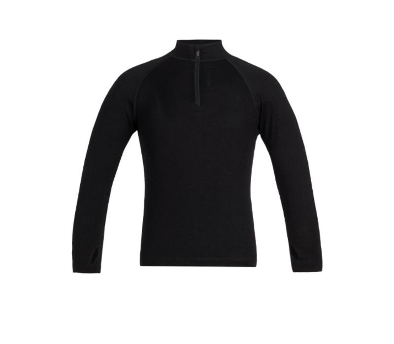ICEBREAKER KIDS 260 TECH LS HALF ZIP BLACK-1