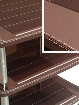 Bassocontinuo Accordeon XL4 Rack in Genuine Mahogany Leather, Center in Glossy Wenge, Stichtes/Threads in Ivory