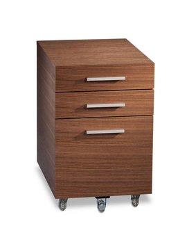 BDI BDI Sequel 6007-2 WL, Locking Low Mobile File Pedestal, Natural Walnut