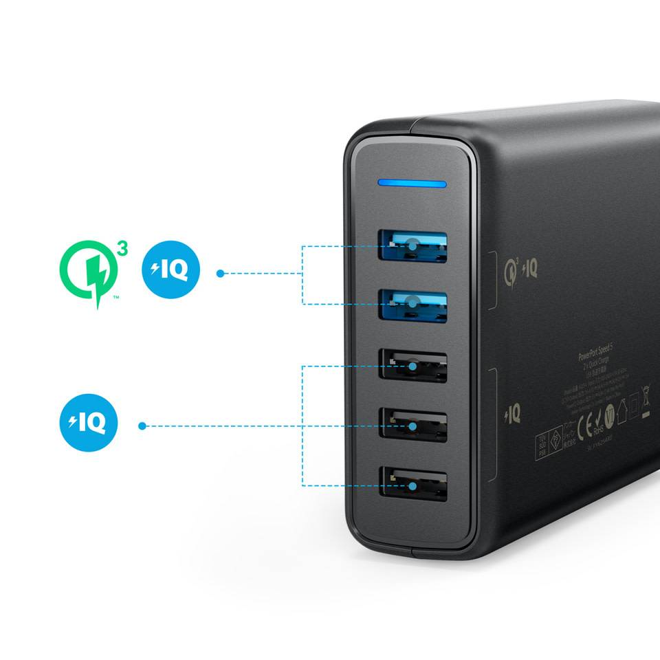 Power Port Speed 5 5-port USB Charger