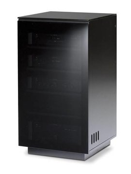 BDI Mirage 8222,  TV- Cabinet, Black with Grey tinted glass doors