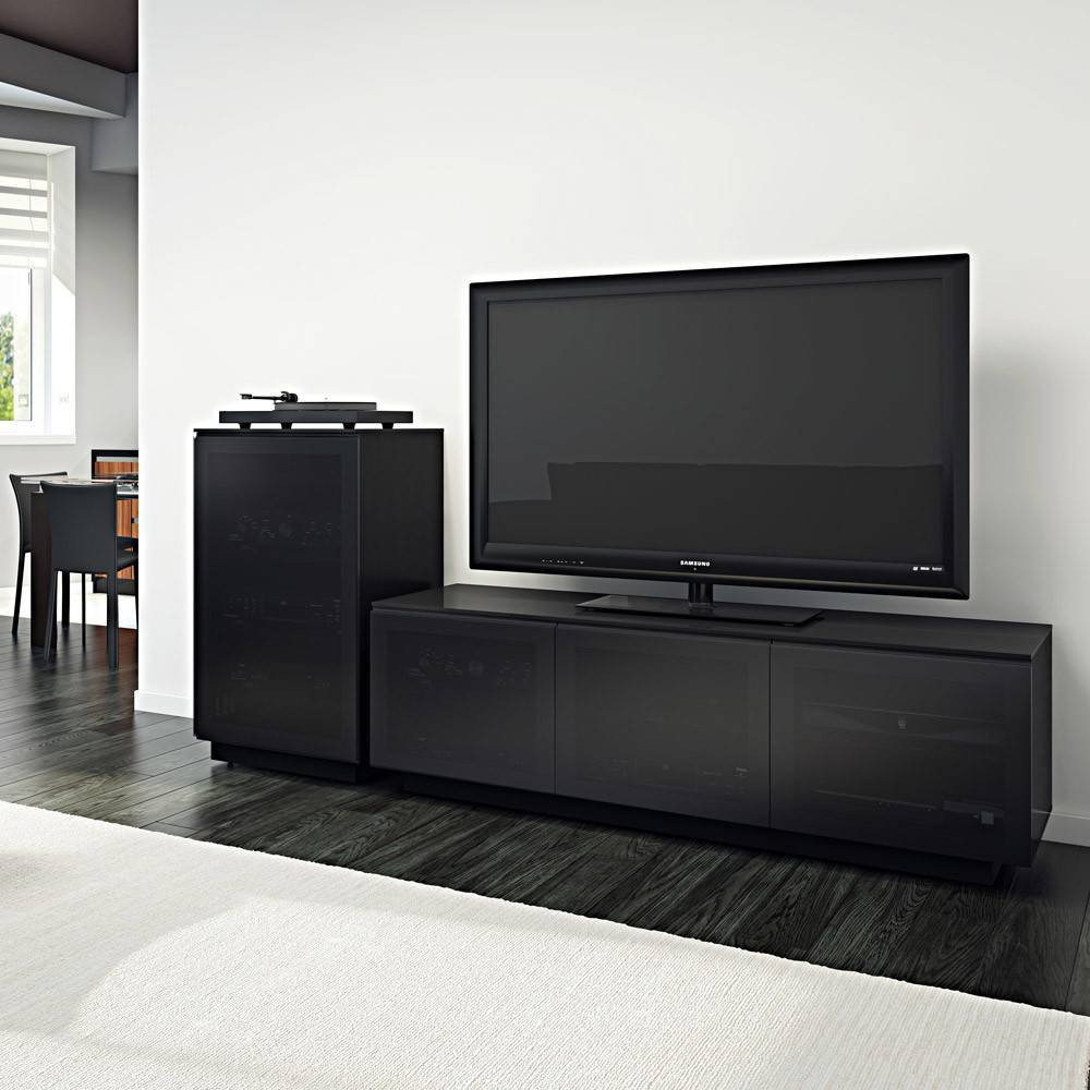 BDI Mirage 8222,  TV Cabinet, Black with Grey tinted glass doors