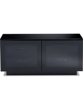 BDI Mirage 8224,  TV Cabinet, Black with Grey tinted glass doors