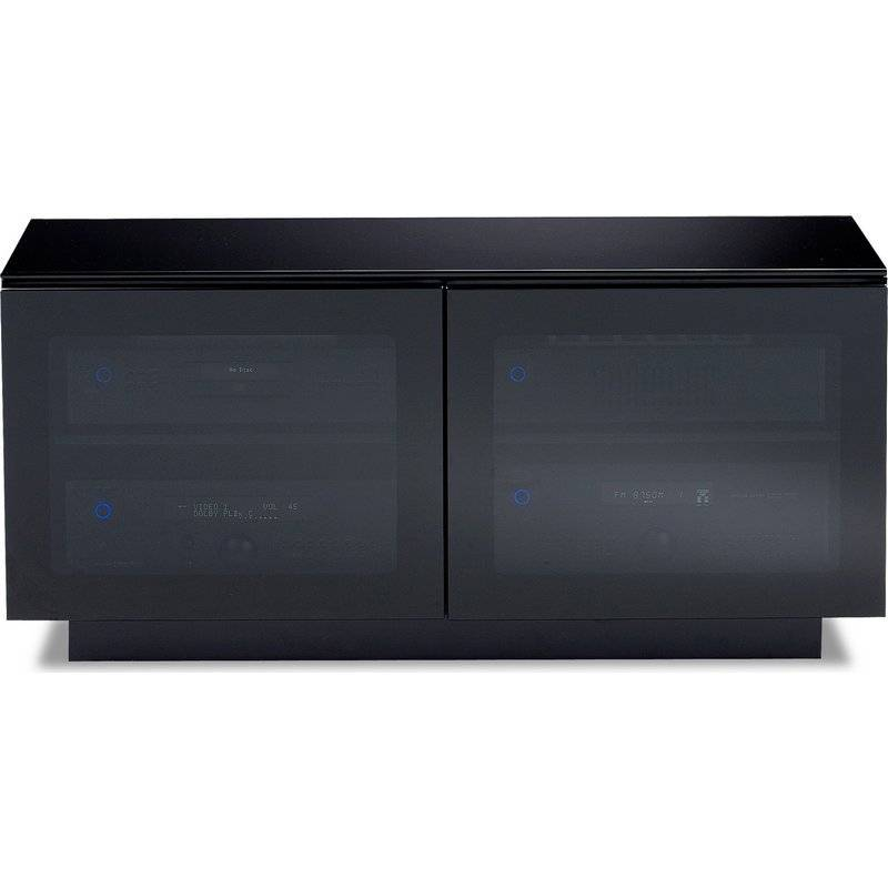 Bdi Bdi Mirage 8224 Tv Cabinet Black With Grey Tinted Glass Doors