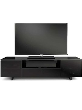 BDI BDI Nora 8239 B,  TV- Cabinet, Gloss Black with Grey tinted glass doors